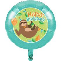 "Sloth Party Happy Birthday 18"" Foil Balloon"