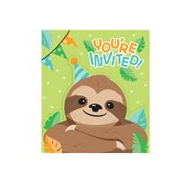 Sloth Party Invitations & Envelopes 8pk