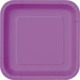 """Pretty Purple 9"""" Square Paper Plates 14pk"""