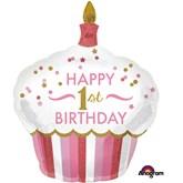 Pink 1st Birthday Cupcake Foil Supershape Balloon