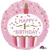 "Happy 1st Birthday Confetti Cake 18"" Foil Balloon"