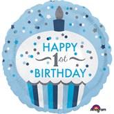 "1st Birthday Cupcake Boy Holographic 18"" Foil Balloon"