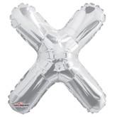 """Silver Letter X Air Fill 14"""" Foil Balloon"""