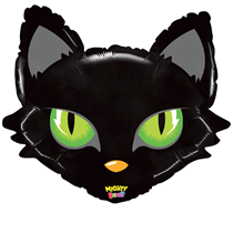 """Black Cat With Green Eyes 28"""" Foil Balloon"""