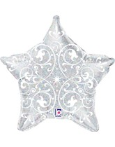 """Silver Holographic Filigree Star 21"""" Foil Balloon"""