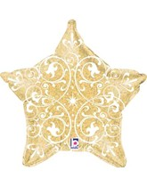 """Gold Holographic Filigree Star 21"""" Foil Balloon"""