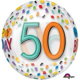 """50th Birthday Rainbow Clear Orbz 16"""" Foil Balloon"""