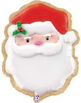 "Christmas Santa Shape Cookie 24"" Foil Balloon"
