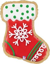 """Christmas Stocking Shape Cookie 27"""" Foil Balloon"""