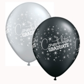 "Black & Silver Graduate 11"" Latex Balloons 25pk"