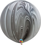 """Black and White SuperAgate 30"""" (2.5ft) Latex Balloons 2pk"""