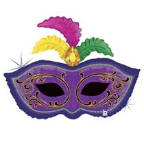 """Mardi Gras Feather Mask 34"""" Foil Balloon"""