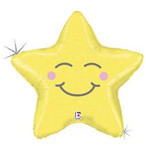 "Smiling Yellow Star 26"" Foil Balloon"