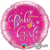"""Pink Welcome Baby Girl Holographic 18"""" Foil Balloon"""