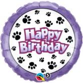 "18"" Happy Birthday Paw Print Foil Balloon"