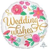 """Gold Swirls Wedding Wishes 18"""" Foil Balloon"""
