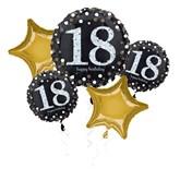 18th Birthday Gold Celebration Foil Balloon Bouquet