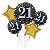 21st Birthday Gold Celebration Foil Balloon Bouquet