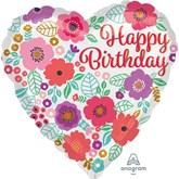 "Happy Birthday Floral Heart 18"" Foil Balloon"