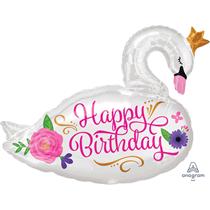 "Happy Birthday 29"" Swan Foil Balloon"
