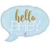 """Blue Hello Baby 24"""" Foil Balloon"""