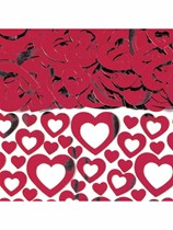 Red Hollow Heart Metallic Confetti 14g