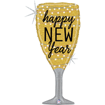 """Happy New Year Champagne Glass 37"""" Holographic Foil Balloon"""