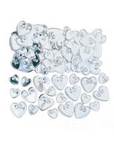 Silver Love Hearts Embossed Metallic Confetti 14g