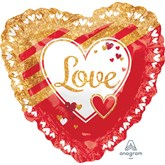 "Red & Gold Love Ruffle 28"" Heart Foil Balloon"