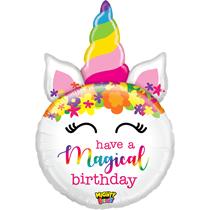 """Mighty Birthday Unicorn 33"""" Foil Balloon"""