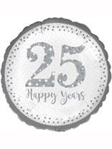 "Sparkling 25th Silver Anniversary 18"" Foil Balloon"