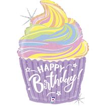 "Pastel Holographic Birthday Cupcake 27"" Foil Balloon"