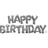 Silver Happy Birthday Phrase Foil Balloon