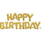 Gold Happy Birthday Phrase Foil Balloon