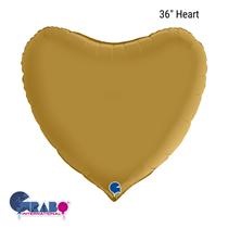"Grabo Satin Gold 36"" Heart Foil Balloon"
