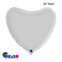 "Grabo Satin White 36"" Heart Foil Balloon"