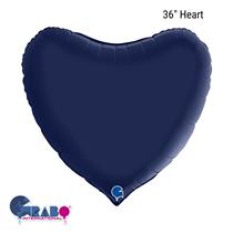 "Grabo Satin Navy Blue 36"" Heart Foil Balloon"