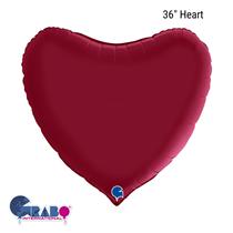 """Grabo Satin Cherry Red 36"""" Heart Foil Balloon"""
