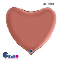 """Grabo Satin Rose Gold 36"""" Heart Foil Balloon"""