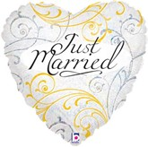 """Just Married Heart Shaped 18"""" Foil Balloon"""