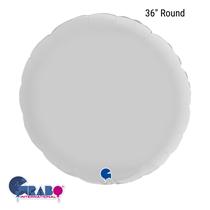 """Grabo Satin White 36"""" Round Foil Balloon"""