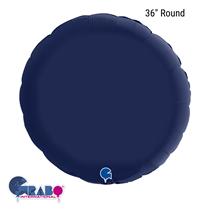 """Grabo Satin Navy Blue 36"""" Round Foil Balloon"""