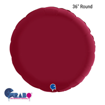 """Grabo Satin Cherry Red 36"""" Round Foil Balloon"""