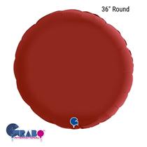 "Grabo Satin Ruby Red 36"" Round Foil Balloon"