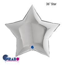 """Grabo Silver Star 36"""" Foil Balloon"""