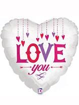 "Love You White Heart 18"" Valentine's Day Foil Balloon"