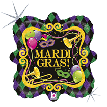 "Mardi Gras Party 18"" Holographic Foil Balloon"