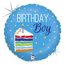 "Birthday Boy Cake Blue 18"" Holo Foil Balloon"