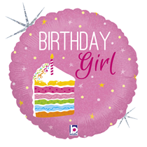 "Birthday Girl Cake 18"" Pink Holo Foil Balloon"