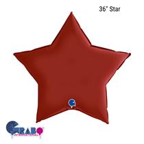 "Grabo Satin Ruby Red 36"" Star Foil Balloon"
